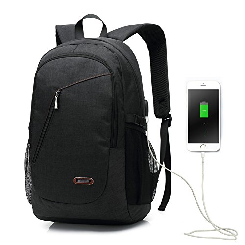 Usb zaino porta computer 15.6 pollici / zaino di affari / zaino di lavoro di uomini e donne, borsa di spalla resistente all'acqua comodo e leggero nera per la scuola, il lavoro, il viaggio