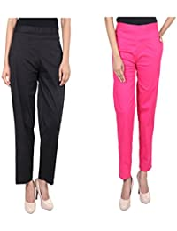 Fashion Store Women's Combo Of 2 Pant Plazo (Black & Pink Small, Medium, XL)