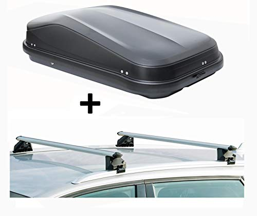 VDP Dachbox JUEASY320 320Ltr schwarz glänzend abschließbar + Dachträger CRV107A kompatibel mit Opel Zafira II (5 Türer) 2007-2014