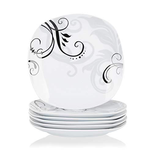 VEWEET Porzellan Dessertteller \'Zoey\' 6-teilig Set | Durchmesser 19,2 cm | Ergänzung zum Tafelservice \'Zoey\' | Kuchenteller für 6 Personen