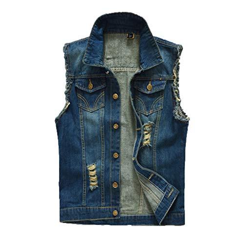 UJUNAOR Herren Denim-Weste der Männer zufällige Cowboyjacke in der Schulter-Bluse Casual - Kontrast Stitch Denim