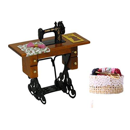 Preisvergleich Produktbild MagiDeal 1/12 Puppenhaus Miniatur Vintage Nähmaschine Mit Nähen Weidenkorb, Puppenhaus Dekoration