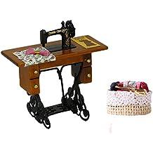 MagiDeal 1/12 Máquina de Coser de Vendimia Casa de Muñecas en Miniatura con Costura