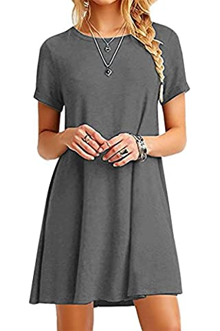 YMING Femme Loose Tunique Col Rond Manches Courtes Chemise Robe