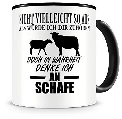 Samunshi Ich denke an Schafe Tiere Tasse Kaffeetasse Teetasse Kaffeepott Kaffeebecher Becher