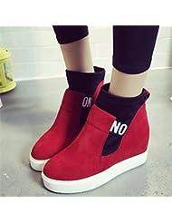 Y & T de la mujer cuña talón botas de moda botas de cuero sintético zapatos al aire libre/Casual negro/rojo
