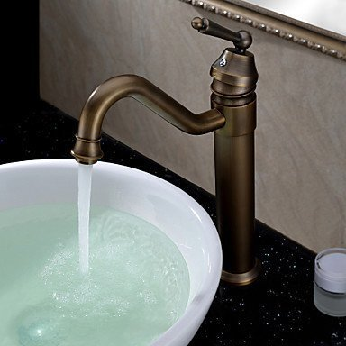 ALFRED Classic Solid Brass Bathroom Sink Faucet Antique Single Hole
