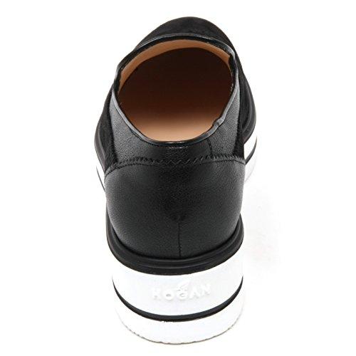 C8896 mocassino donna HOGAN H323 nuovo route zeppa nero slip on shoe woman Nero
