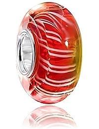925 plata de ley y cristal Murano Bead rayas rojo/Blanco - Beads modelo #1423