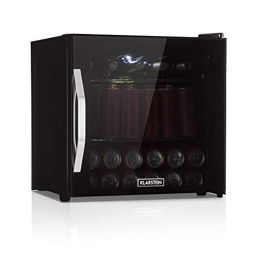 Klarstein Beersafe L Onyx Getränkekühlschrank mit Glastür - Mini-Kühlschrank, Mini-Bar, 47 Liter, 0 bis 13 °C, nur 42 db, LED-Innenbeleuchtung, 2 Metalleinschübe, Edelstahlrahmen, schwarz