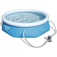 Bestway 57268 - Piscina Hinchable Fast Set con Anillo Hinchable y depuradora Eléctrica, 244 x 66 cm, 2.300 litros, Azul