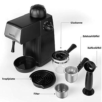 Espressomaschine-5-Bar-Kaffeemaschine-Sweet-Alice-Siebtrgermaschinen-4-Tassen-240mlmit-Milchaufschumer-fr-Cappuccino-Caffee-800W