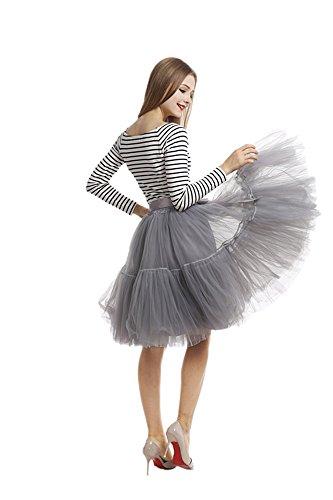 Pulchram Gonna in Tulle 7 Strati Sottogonna Balletti Petticoat Tutu con Cintura per Festa Party Grigio