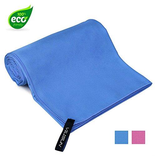 Vilisun asciugamani in microfibra per palestra, towel gym 180x90 cm telo microfibra asciugamano fitness sportivo da bango yoga anti-scivolo super leggero morbido per sport spiaggia mare piscina nuoto uomo donna(blu)