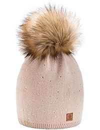 Winter Cappello Cristallo Più Grande Pelliccia Pom Pom invernale di lana Berretto Delle Signore Delle Donne Beanie hat Pera Sci Snowboard di moda MFAZ Morefaz Ltd (Beige)