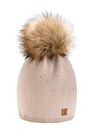 Wurm Winter Strickmütze Mütze Damen Kristalle Kiesel mit Große Pelz Bommel Pompon l SKI (Beige)