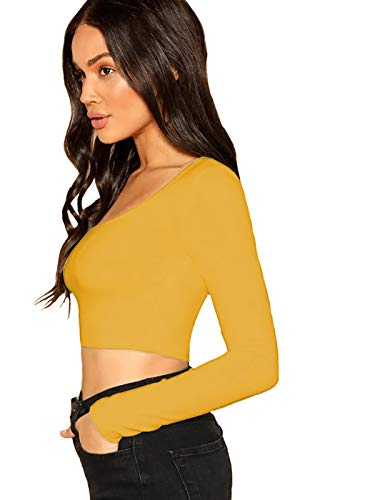 "THE BLAZZE 1059 Women's Basic Sexy Solid Scoop Neck Slim Fit Full Sleeve Crop Top T-Shirt for Women (Large(34""-36""), E - Yellow)"
