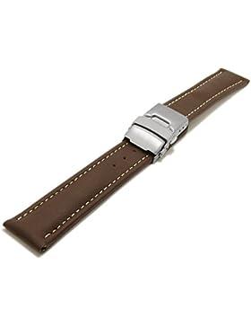 Meyhofer Uhrenarmband Milas 18mm dunkelbraun Leder glatt helle Naht Titan-Faltschließe MyHekslb88/18mm/dbraun/...