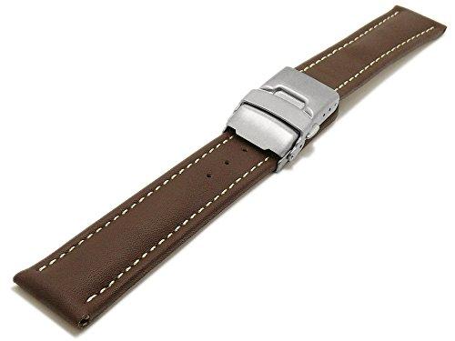 Meyhofer Uhrenarmband Milas 20mm Dunkelbraun Leder glatt helle Naht Titan-Faltschließe MyHekslb88/20mm/dbraun/hN/TiFS (20mm Uhrenarmband Titan)