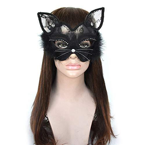 Gesicht Einfach Katze Kostüm - SAILORMJY Maske Halloween, Cosplay Maske Maskerade Venedig Prinzessin Partei Weihnachten Maske CarnivalParty Kostümball Halbes Gesicht Tier Katze Gesicht PVC-Maske