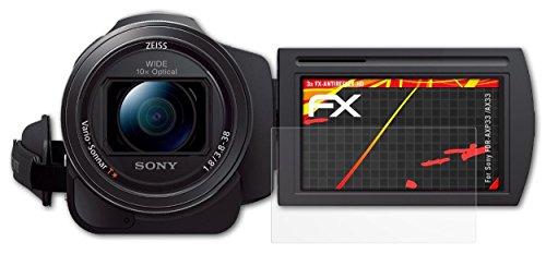 Sony FDR-AXP33 /AX33 Displayschutzfolie - 3 x atFoliX FX-Antireflex-HD hochauflösende entspiegelnde Folie