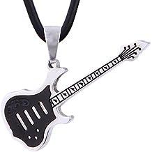 Collar de cuero con colgante guitarra eléctrica de acero inoxidable en bolsa de terciopelo de color