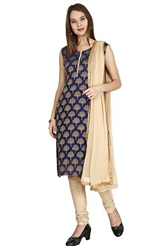 Manmandir Women's Cotton Silk Salwar Suit Dress Material Blue_Free Size