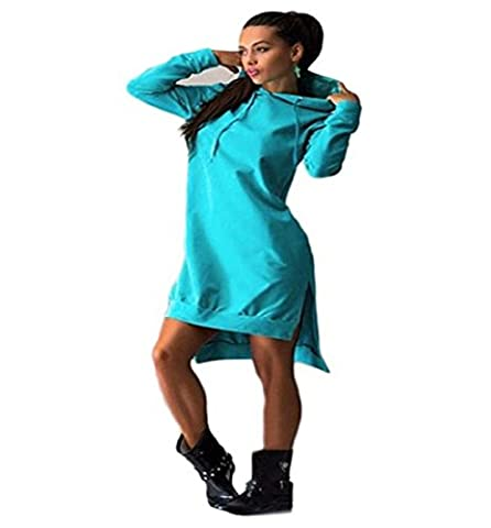 Robe de Manches longues , Femmes Automne hiver Sweatshirt Robe Pull à capuche Chandail poches (S,