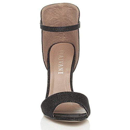 Größe Absatz sandalen Kontrast Knöchelriemen Damen Schuhe Zweifarbig Glitzernd Hohen Schwarz Twq0O0