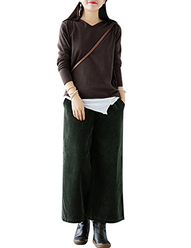 Youlee Donna Inverno Vita elastica Corduroy Pantaloni Pantaloni a gamba larga Stile 1 Verde scuro
