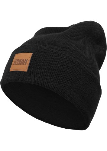 Womens 7 Kostüm Zwerge - Urban Classics TB626 Unisex Strickmütze Leatherpatch Long Beanie Black, One size (Herstellergröße: one size)