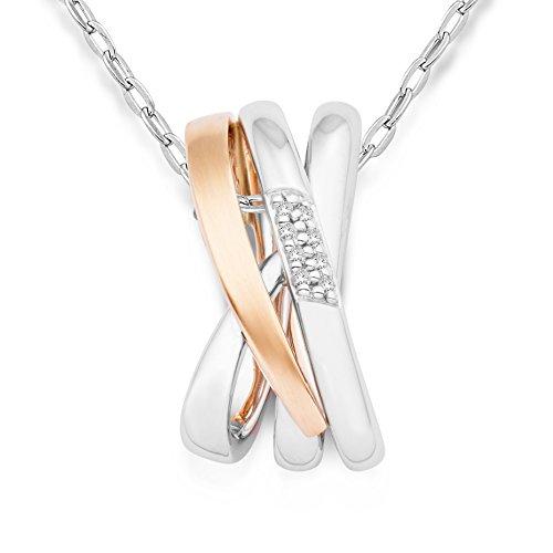 Miore Damen Halskette 14 Karat (585) Bicolor rhodiniert 45 cm weiß MRM404P