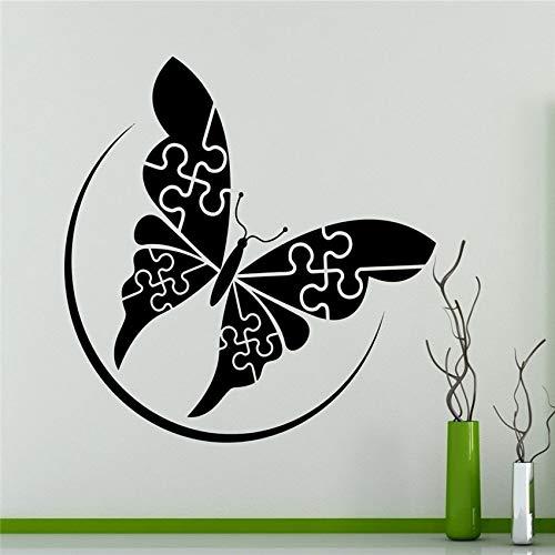 jiushizq Sale Home Decoration Zubehör Puzzles Butterfly Wall Vinyl Aufkleber Design Home Decoration Abnehmbare Aufkleber # Pink 58 x 65 cm