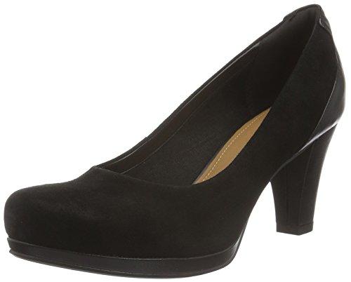 Clarks Chorus Chic, Zapatos de Tacón Mujer, Negro (Black Suede), 38 EU