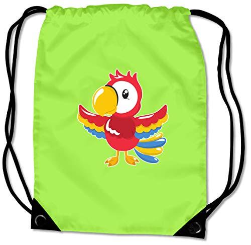 Samunshi® Turnbeutel Lustiger Papagei Sportbeutel für Schule Sport Sporttasche BG10 Gymsac 45x34cm Lime grün/Farbiger Aufdruck