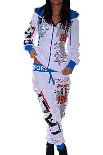 Damen Sportanzug Sporthose 100% Baumwolle Italia (S, Weiß) (Weiß Hose Womens Leinen)