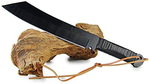 Extreme XXL Stahl JOHN R Machete Schwarz 30 cm Klinge extrem scharf mit Lederkordel