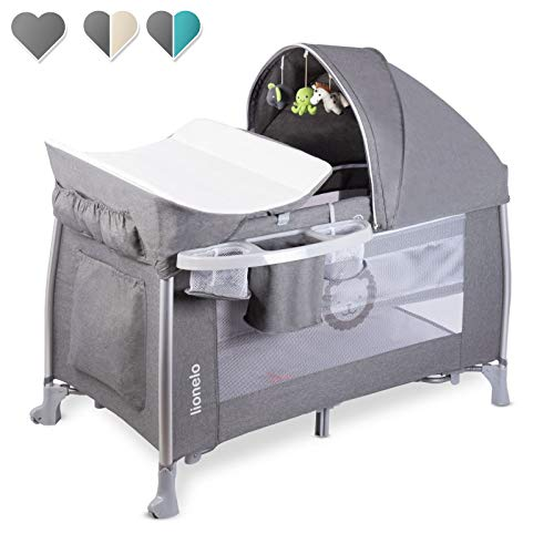 Lionelo Simon 2in1 Reisebett Baby, Laufstall Baby ab Geburt bis 15kg, Spielkarussell mit Spielzeug, Moskitonetz, zusammenklappbar (Stone)