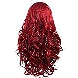 80 cm haute qualité Perruque Cosplay Pour femmes. Long Complète bouclé ondulé Chaleur résistant. Mode Glamour perruque (Couleur: Rouge)