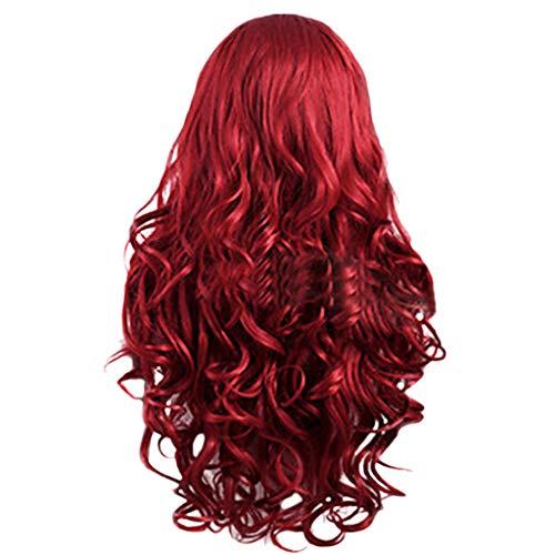 Frauen-rotes brasilianisches langes gewelltes gelocktes Trennungs-Hochtemperaturfaser-Perücke-Haar ()