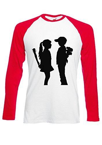 BANKSY Girl and Boy Relationsh?ip Meaning Red/White Men Women Unisex Long Sleeve Baseball T Shirt-XXL