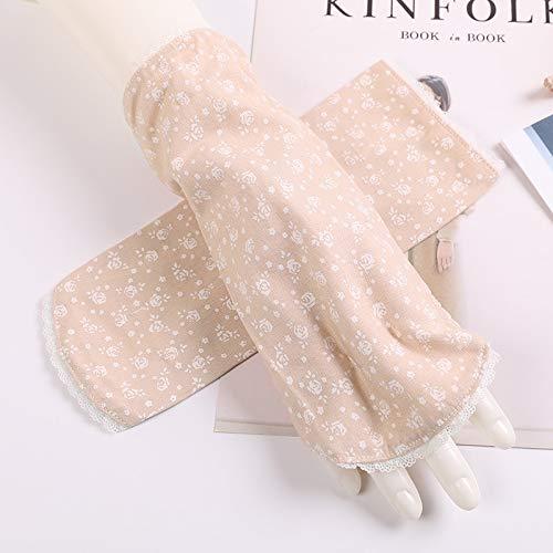 Kurzarm No Piano Damen Armband Concealer Sonnenschutzhandschuhe UPF50 + Exposed Half Finger Atmungsaktiver Slip (Color : Beige, Size : One Size-Two Pairs)