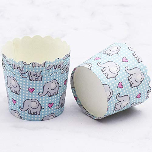 100 stücke Netter Elefant Baby Liebe Herz Dots Blumen Ente cupcake liner papier backen tasse dekorative hochzeit geburtstag party favors - Dots Cupcake Liner