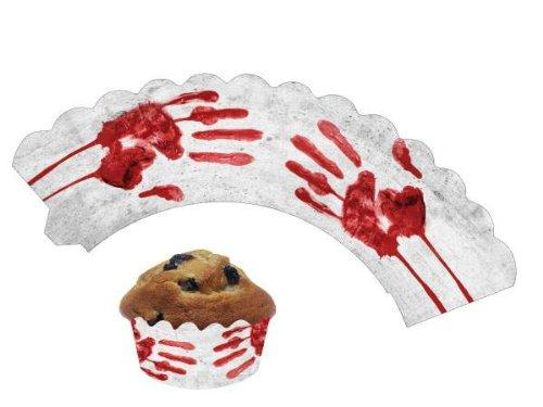 DH-Konzept Blutige Hände Cupcake Muffin-Banderolen Halloween-Deko 12 Stück Weiss-rot Einheitsgröße