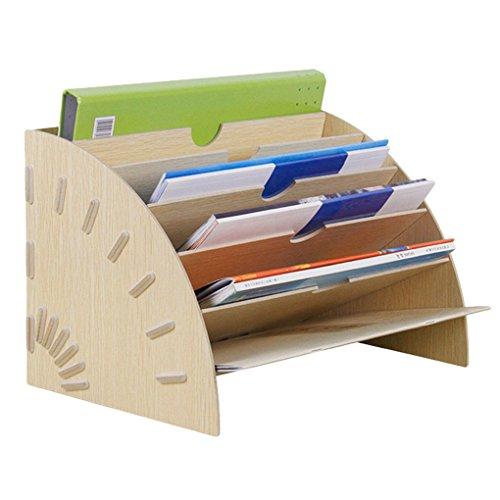 Liying Neu Ablagefächer Briefablage Papier-Organizer 6 Fächer Stehsammler aus Holz Zeitschriftensammler Stehordner Archivsammler Buchablagen Dokumentenhalter Schreibtisch für Büro Dokumente Briefe