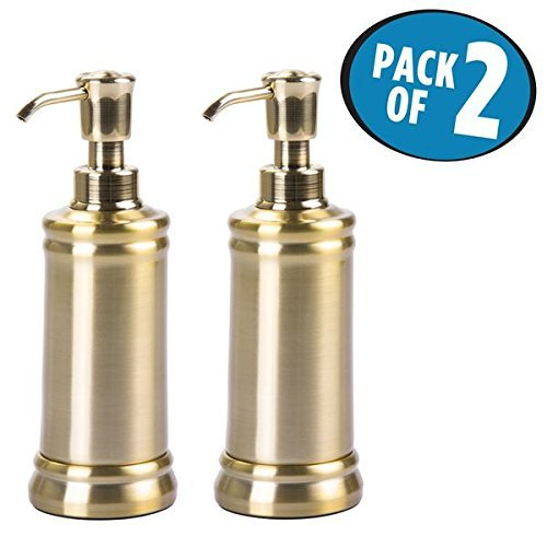 mDesign Juego de 2 dispensadores de jabón de metal – Elegantes dosificadores de jabón con 237 ml de capacidad – Accesorios de baño de calidad con cabezal de plástico resistente – color latón