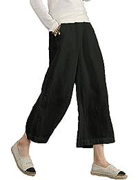 130b002aa89 Ecupper Women s Casual Loose Plus Size Elastic Waist Cotton Trousers