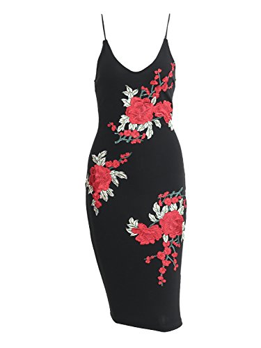 Simplee Apparel - Robe - Moulante - Femme Black Embroidery