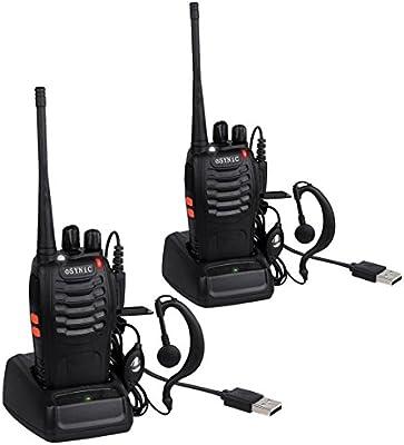 ESYNiC Walkie Talkie de Largo Rango UHF 400-470MHz 16 Canales Linterna LED con Auriculares FM Transceptor Portátil para Sobrevivir en el Campo Ciclismo y Excursionismo