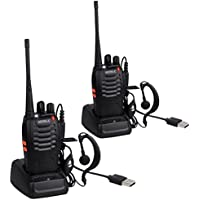 Walkie Talkies-2 pcs Long Range Two-Way Radio UHF 400-470MHz Walky Talky with Original Earpieces- 16CH Single Band FM Handheld Transceiver with LED Light Voice Prompt for Field Survival Biking and Hiking